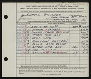 Entry card for Brucker, Edmund for the 1946 May Show.