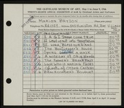 Entry card for Bryson, Marion Camp for the 1946 May Show.