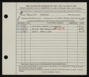 Entry card for Bundasz, Rudolph for the 1946 May Show.