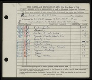 Entry card for Burton, Jack Munson for the 1946 May Show.