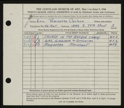 Entry card for Carlson, Eric Burdette for the 1946 May Show.