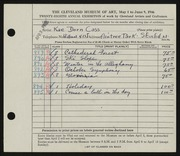 Entry card for Cass, Katherine Dorn for the 1946 May Show.