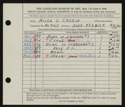 Entry card for Chegin, Hilda G. for the 1946 May Show.