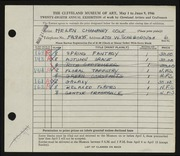 Entry card for Cole, Helen Champney for the 1946 May Show.