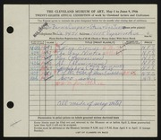 Entry card for Cooper, Dr. Bernard Henry, and Jenso, George; Jenso, Steve for the 1946 May Show.