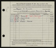 Entry card for Cullum, Robert M. for the 1946 May Show.