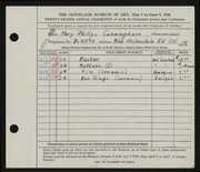 Entry card for Cunningham, Mary Phillips for the 1946 May Show.