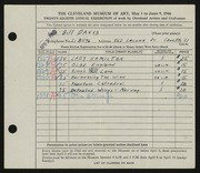 Entry card for Davis, Bill for the 1946 May Show.