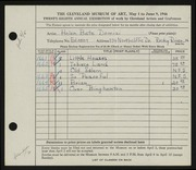 Entry card for Dominzi, Helen Bate for the 1946 May Show.