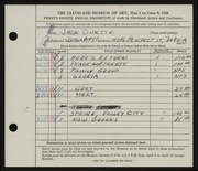 Entry card for Duktig, Jack for the 1946 May Show.