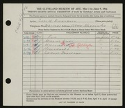 Entry card for Eysenbach, Carl W. for the 1946 May Show.