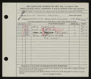 Entry card for Frankel, Lillian Berson for the 1946 May Show.