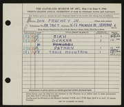 Entry card for Fruchey, Donald Russell, Jr. for the 1946 May Show.