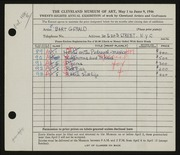 Entry card for Gerald, Elizabeth Bart for the 1946 May Show.