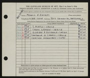 Entry card for Haynes, Francis H. for the 1946 May Show.