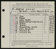 Entry card for Higgins, Martha for the 1946 May Show.