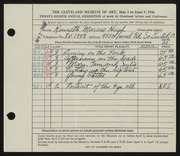 Entry card for Hugh, Kenneth Marcus for the 1946 May Show.