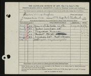 Entry card for Hughes, Mary Ruth Wilcox for the 1946 May Show.