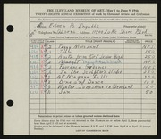Entry card for Ingalls, Eileen B. for the 1946 May Show.