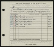 Entry card for Kerr, Robert E. for the 1946 May Show.