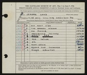 Entry card for Land, Jerome for the 1946 May Show.