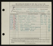 Entry card for Leonard, Grace Verne for the 1946 May Show.