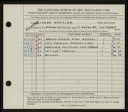 Entry card for Manzler, Lorna for the 1946 May Show.