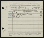 Entry card for Martinek, Louis P., and Caxton Company for the 1946 May Show.