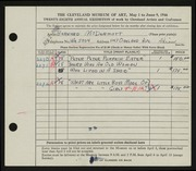 Entry card for McDermott, Bernard for the 1946 May Show.