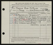 Entry card for McMillen, Dorothy Ruby for the 1946 May Show.