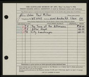 Entry card for Miller, John Paul for the 1946 May Show.