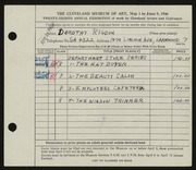 Entry card for Rigdon, Dorothy N. for the 1946 May Show.