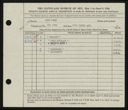 Entry card for Rosen, Rose for the 1946 May Show.
