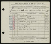 Entry card for Scheele, William E. for the 1946 May Show.