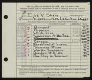 Entry card for Shaw, Elsa Vick for the 1946 May Show.