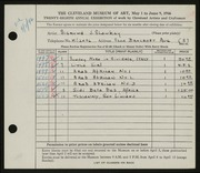 Entry card for Shawkey, Sigmund for the 1946 May Show.