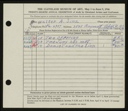 Entry card for Sinz, Walter A. for the 1946 May Show.
