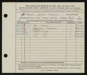Entry card for Sloane, Phyllis for the 1946 May Show.