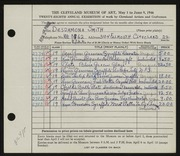 Entry card for Smith, Desdamona for the 1946 May Show.