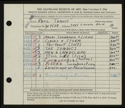 Entry card for Travis, Paul Bough for the 1946 May Show.