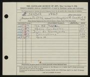Entry card for Vago, Sandor for the 1946 May Show.
