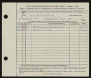Entry card for Uhlir, Lois M. for the 1946 May Show.