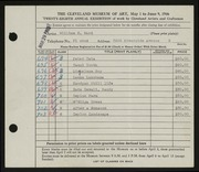Entry card for Ward, William E. for the 1946 May Show.