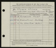 Entry card for Wilson, Steven for the 1946 May Show.