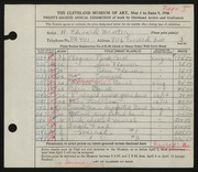 Entry card for Winter, H. Edward for the 1946 May Show.