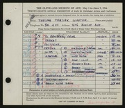 Entry card for Winter, Thelma Frazier for the 1946 May Show.