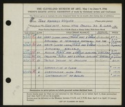 Entry card for Kennedy, Jean for the 1946 May Show.