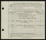 Entry card for Wooddell, Joseph M. for the 1946 May Show.
