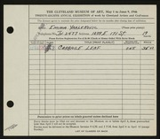 Entry card for Yarlekovic, Emma for the 1946 May Show.
