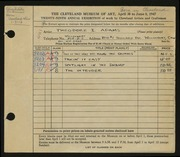 Entry card for Adams, Theodore for the 1947 May Show.